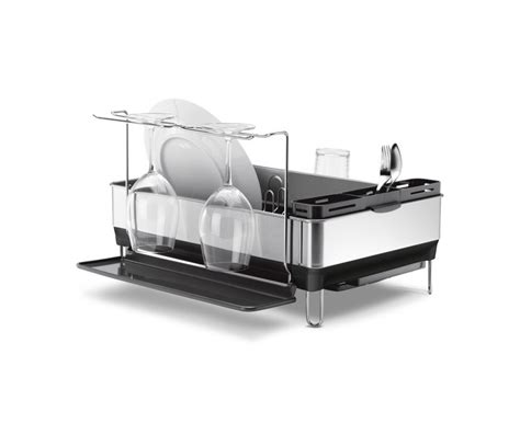 simplehuman dish rack simplehuman steel frame dishrack with wine glass holder