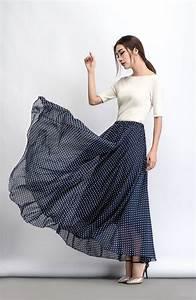 Polka Dot Chiffon Skirt - Maxi Long Floaty Sheer Spotty Summer Skirt Handmade Made-to-Measure ...