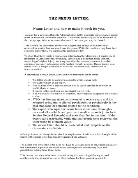 Va Nexus Letter Template by Va Nexus Letter Revolutioncinemarentals