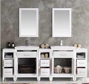 84, U0026quot, White, Double, Sink, Traditional, Bathroom, Vanity, In