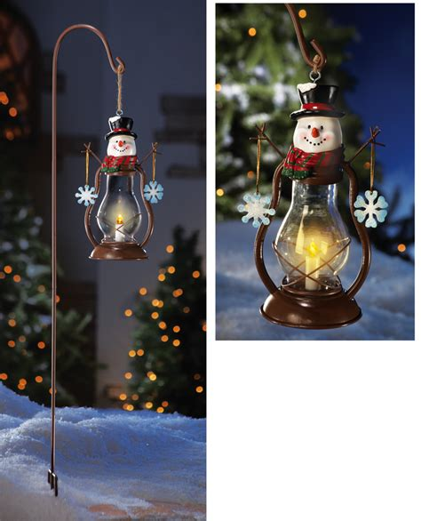 christmas outdoor lanterns solar country snowman outdoor garden lantern w hanging hook decor new ebay