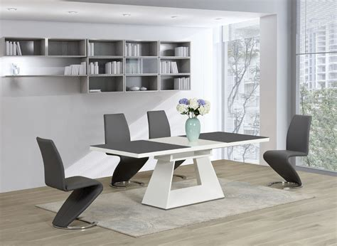 contemporary kitchen white glass high gloss extending
