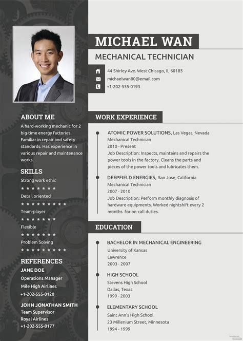 mechanic resume  cv template  psd templatenet