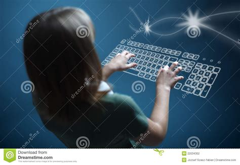 Girl Typing On Virtual Keyboard Stock Photography
