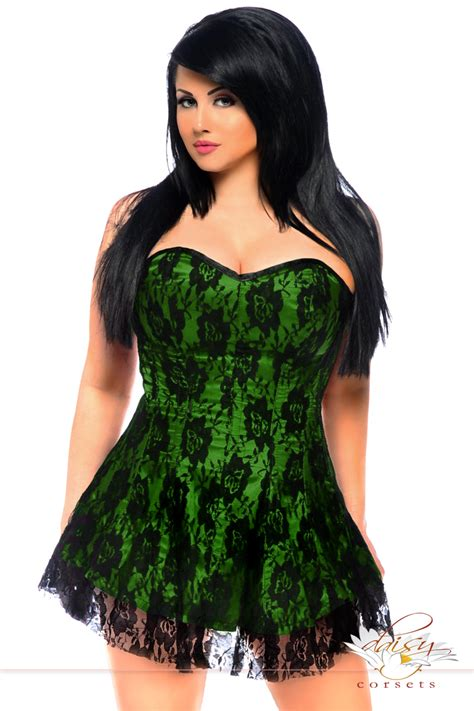 corset si鑒e plus size green satin corset dress with lace overlay
