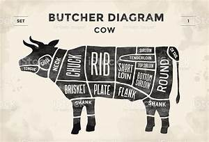 Poster Butcher Diagram And Scheme Cow Stock Vector Art