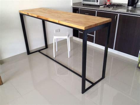 mesa hierro  madera desayunador cocina