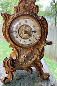 Antique Art Nouveau Cast Iron Wind Up Mantel Clock  Works