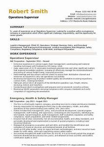 Resume Samples Operations Supervisor Resume Samples Qwikresume
