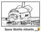 Coloring Space Shuttle Spaceship Atlantis Colouring Nasa Sheet Spectacular sketch template