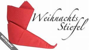 Anleitung Servietten Falten : servietten falten anleitung stiefel weihnachten diy napkin folding instruction boots ~ Frokenaadalensverden.com Haus und Dekorationen