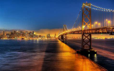 san francisco city usa bridge lights rivers sea drawing buildings skyscrapers sky
