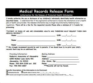 release  medical records form template business