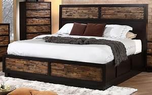 Makeeda, Rustic, King, Platform, Storage, Bed, B3105