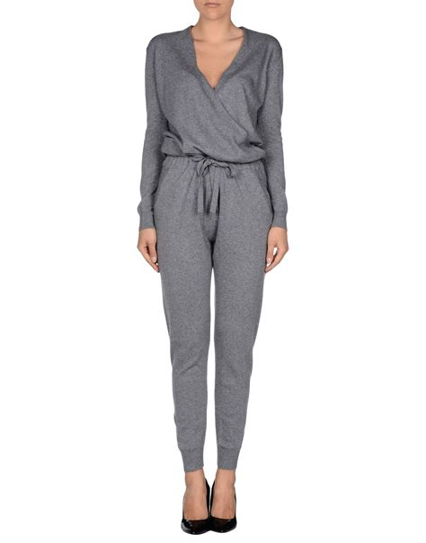 grey jumpsuit womens stefanel jumpsuit in gray grey lyst