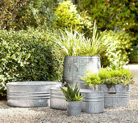 galvanized steel planters eclectic galvanized metal planters pottery barn 1189