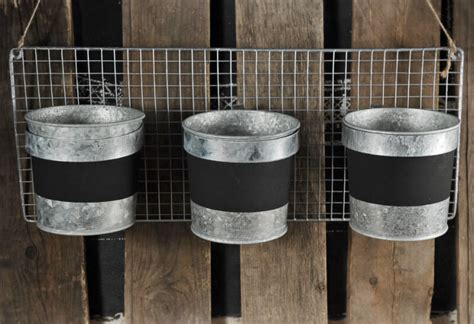 triple bucket planter rack