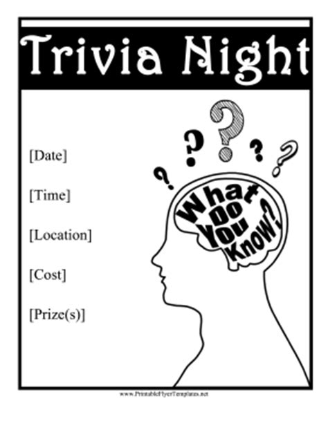 trivia night flyer templates trivia night flyer