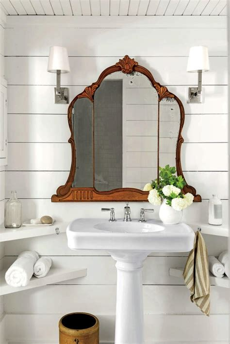 Mirrors In Bathrooms by Shiplap Bathroom Wood Ceiling Antique Mirror