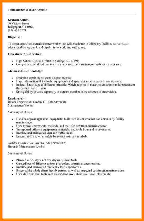 Resume For Maintenance Worker by 5 Maintenance Worker Resume Ledger Review