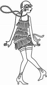 Flapper Coloring 1920s Pages Urbanthreads Rockabilly Urban Retro Embroidery Designs Subcultures Threads Styles Hand sketch template