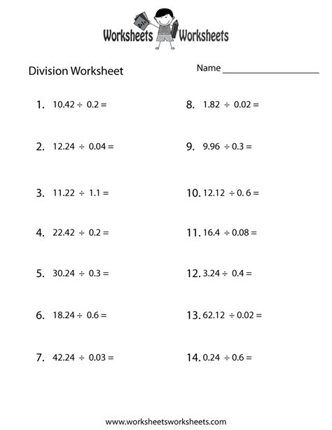 decimal division worksheet free printable educational
