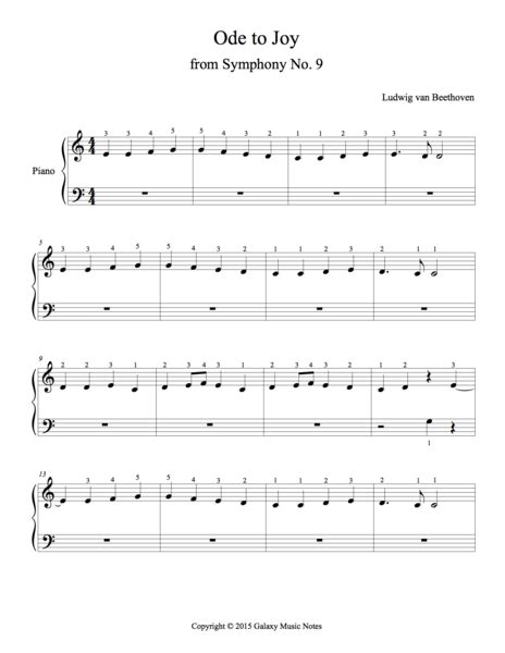 ode  joy  beethoven beginners piano solo sheet