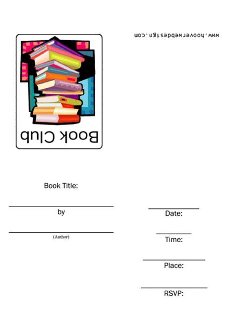 book club invitation template printable