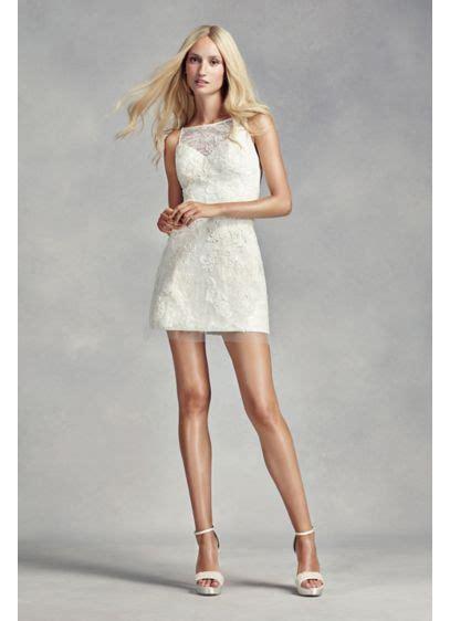 white  vera wang short lace wedding dress davids bridal