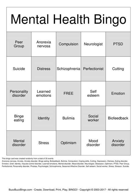 mental health bingo cards   print  customize