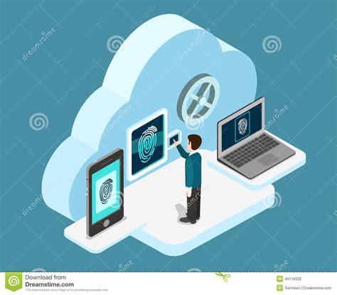 cloud authentication biometric fingerprint identification flat 3d web isometric