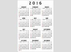 12 Month Calendar 2016 Vertical Free Stock Photo Public
