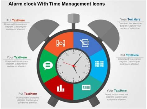 alarm clock  time management icons flat powerpoint