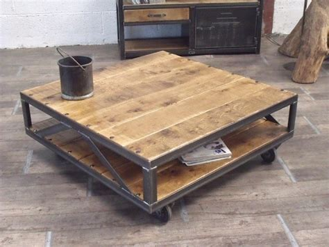 ikea solde cuisine table basse industrielle carrée bois métal sur mesure