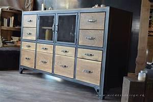 Meuble Style Campagne Chic : relooker meuble style industriel avec buffet haut buffet style industriel esprit campagne chic ~ Farleysfitness.com Idées de Décoration