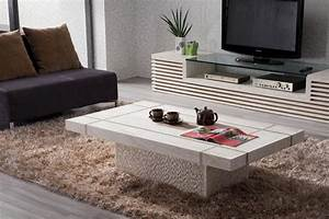 Trendy Rectangle White Granite Coffee Tables On Brown Fur