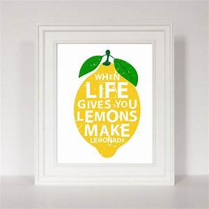 Life gives you lemons quotes canvas painting modern prints for Best brand of paint for kitchen cabinets with cheap contemporary wall art