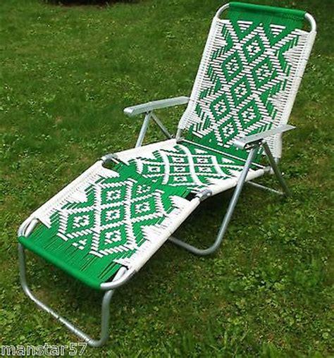 woven macrame aluminum folding webbed lounge chaise