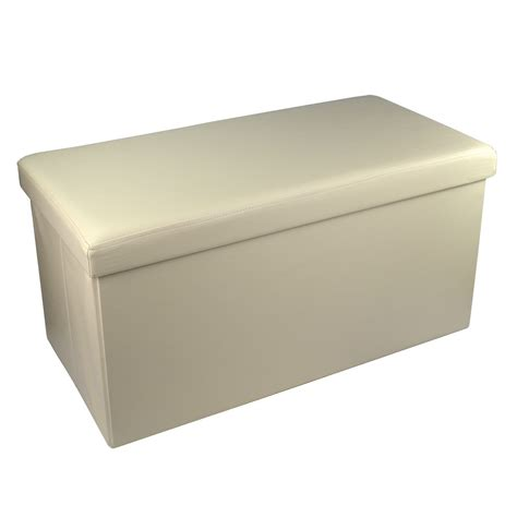 Titre Ottoman by Large Faux Leather Ottoman Folding Storage Box Pouffe Foot