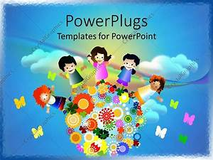 PowerPoint Template: Abstract cloudy sky with little kids ...