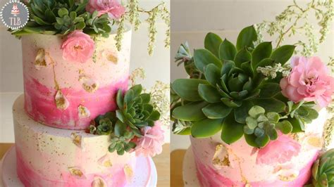 diy buttercream wedding cake with succulents and fresh