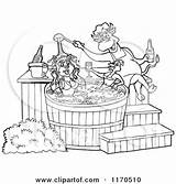 Tub Bbq Cartoon Chef Bull Sauce Pig Clipart Female Chicken Pouring Royalty Outlined Couple Lafftoon Clip Vector Template Poster Illustration sketch template