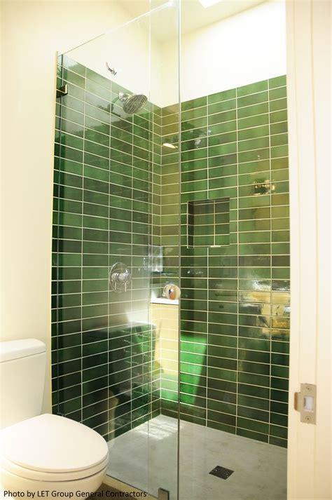beautiful contemporary bathroom with green ceramic subway