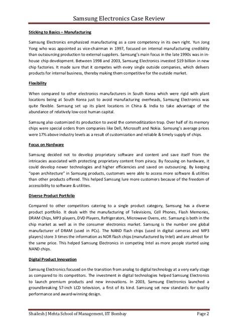 Harvard Business School Case Study Samsung, College Paper