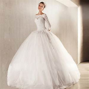 Vintage white wedding dress ball gown boat neck long for Long sleeve lace ball gown wedding dress
