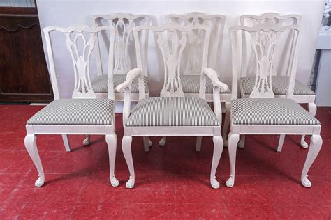 six painted chippendale style dining chairs for sale at