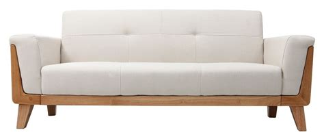 pied de canapé design canapé design 3 places blanc cassé pieds bois fjord miliboo