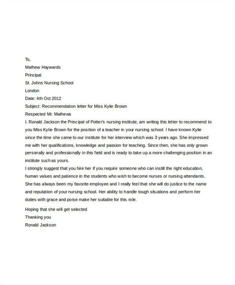 letter of recommendation for nursing school 40 exles of recommendation letter sle templates