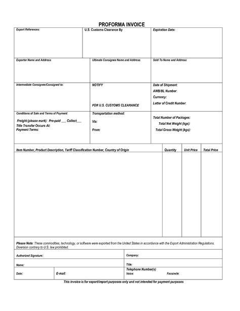 customs invoice template proforma invoice customs invoice template ideas