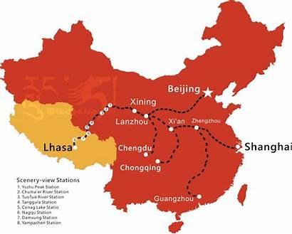 Map Tibet Qinghai Railway Train Windhorsetour China